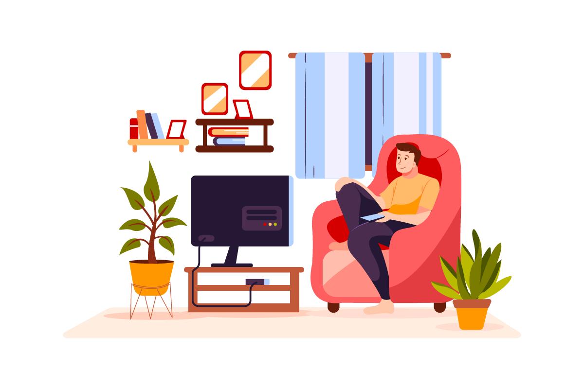 Guy watching TV